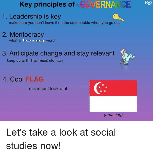 Memes, Old Man, and Coffee: Key principles of G  VERNA CE  1. Leadership is key  make sure you don't leave it on the coffee table when you go out  2. Meritocracy  what a  word  3. Anticipate change and stay relevant  keep up with the times old man  4. Cool FLAG  i mean just look at it  (amazing) Let's take a look at social studies now!