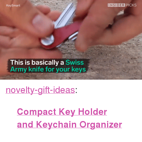 """Organizer: KeySmart  INSIDER PICKS  This is basically a Swiss  Army knife for your keys <p><a href=""""https://novelty-gift-ideas.tumblr.com/post/166638187908/compact-key-holder-and-keychain-organizer"""" class=""""tumblr_blog"""">novelty-gift-ideas</a>:</p><blockquote><p><b><a href=""""https://novelty-gift-ideas.com/compact-key-holder-and-keychain-organizer/"""">Compact Key Holder and Keychain Organizer</a></b></p></blockquote>"""