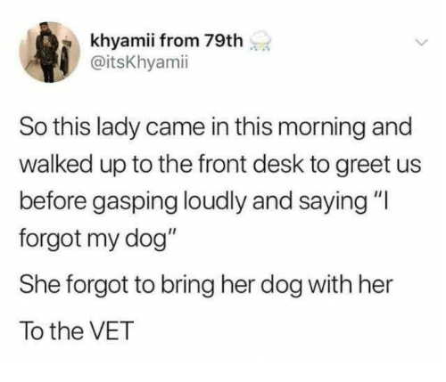"""Desk, Her, and Dog: khyamii from 79th  @itsKhyamii  So this lady came in this morning and  walked up to the front desk to greet us  before gasping loudly and saying """"l  forgot my dog""""  She forgot to bring her dog with her  To the VET"""