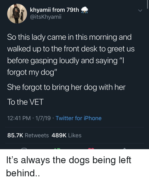 "Dogs, Iphone, and Twitter: khyamii from 79th  @itsKhyamii  So this lady came in this morning and  walked up to the front desk to greet us  before gasping loudly and saying ""I  forgot my dog""  She forgot to bring her dog with her  To the VET  12:41 PM 1/7/19 Twitter for iPhone  85.7K Retweets 489K Likes It's always the dogs being left behind.."