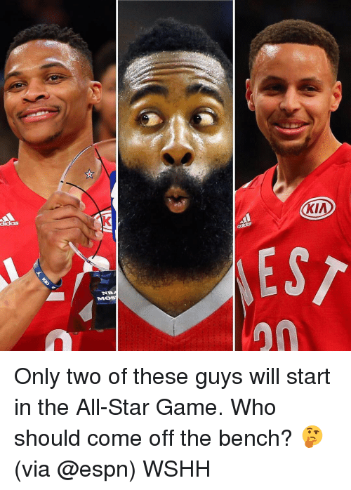 Come Off The Bench: (KIA  EST  NB  MOS  20 Only two of these guys will start in the All-Star Game. Who should come off the bench? 🤔 (via @espn) WSHH