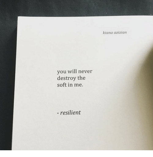 Never, You, and Resilient: kiana azizian  you wil never  destroy the  soft in me.  resilient