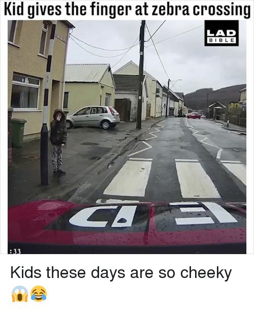 Memes, Bible, and Kids: Kid gives the finger at zebra crossing  LAD  BIBLE  :33 Kids these days are so cheeky 😱😂