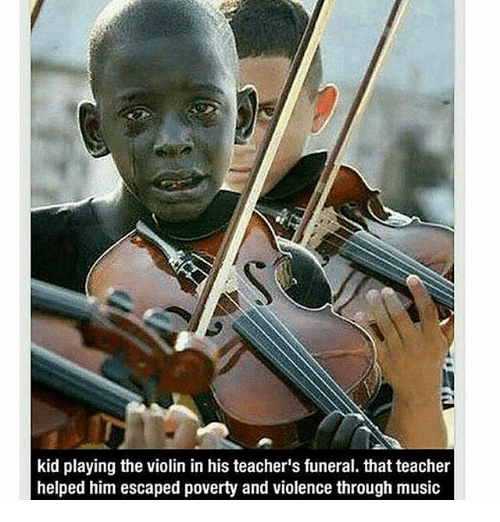 Memes, 🤖, and Violin: kid playing the violin in his teacher's funeral. that teacher  helped him escaped poverty and violence through music