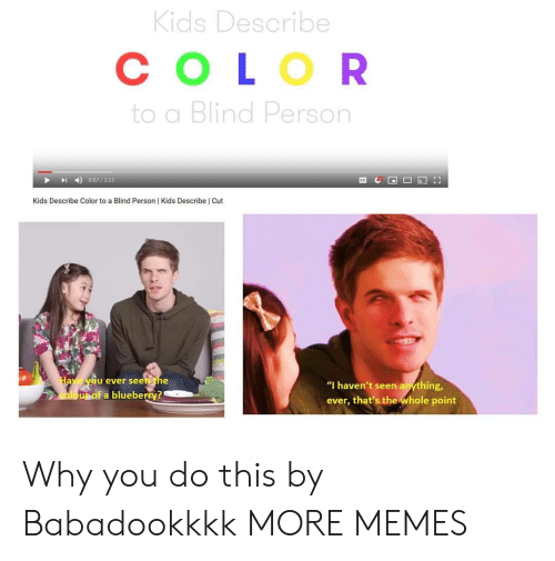 """blueberry: Kids Describe  СOLOR  to a Blind Person  0:07/325  Kids Describe Color to a Blind Person   Kids Describe   Cut  Have yeu ever seen the  """"I haven't seen anything,  oloupof a blueberry?  ever, that's the whole point Why you do this by Babadookkkk MORE MEMES"""