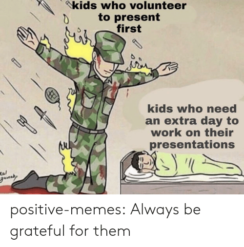 presentations: kids who volunteer  to present  first  kids who need  an extra day to  work on their  presentations  Kal positive-memes: Always be grateful for them