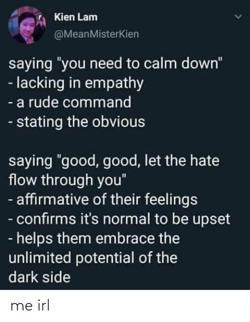 "Good Good: Kien Lam  @MeanMisterKien  saying ""you need to calm down""  - lacking in empathy  - a rude command  - stating the obvious  saying ""good, good, let the hate  flow through you""  - affirmative of their feelings  - confirms it's normal to be upset  - helps them embrace the  unlimited potential of the  dark side me irl"