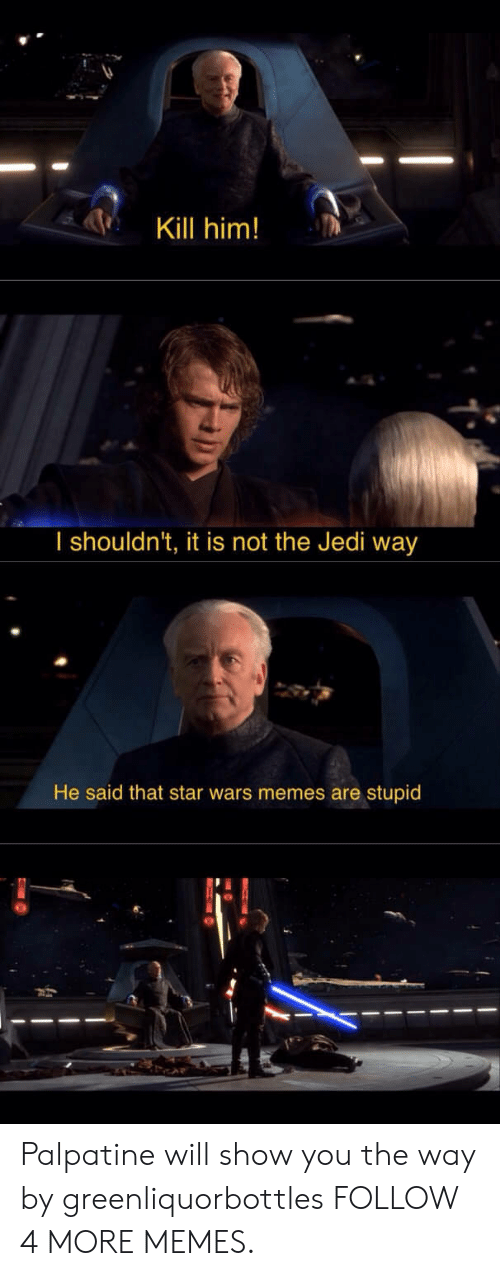 Memes Are Stupid: Kill him!  I shouldn't, it is not the Jedi way  He said that star wars memes are stupid Palpatine will show you the way by greenliquorbottles FOLLOW 4 MORE MEMES.