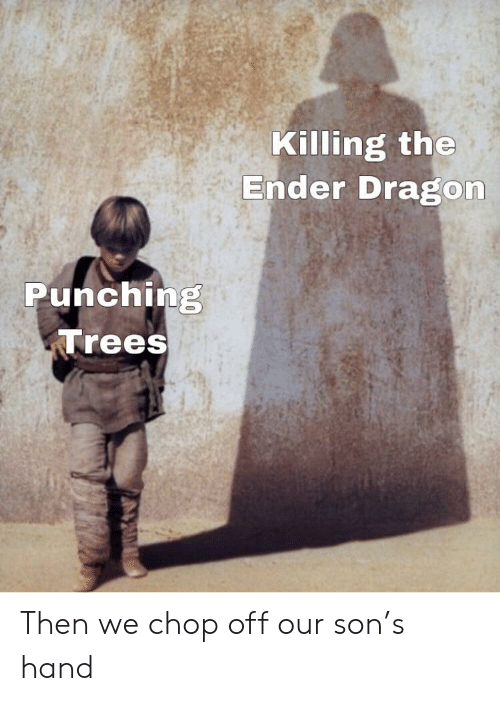 chop: Killing the  Ender Dragon  Punching  Trees Then we chop off our son's hand
