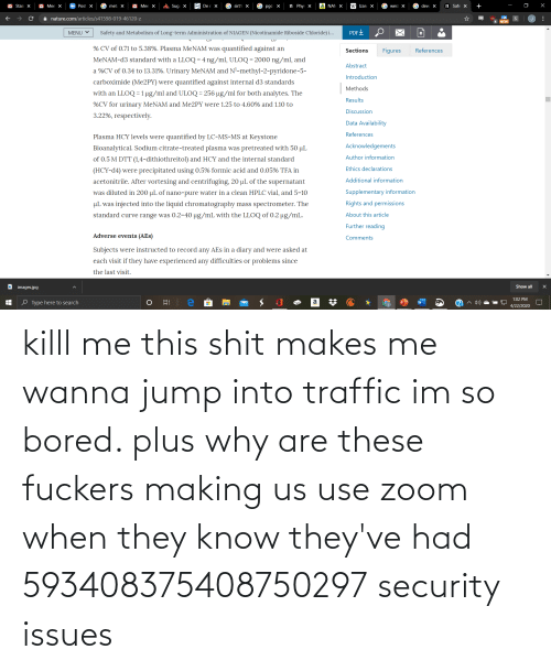 Traffic: killl me this shit makes me wanna jump into traffic im so bored. plus why are these fuckers making us use zoom when they know they've had 593408375408750297 security issues