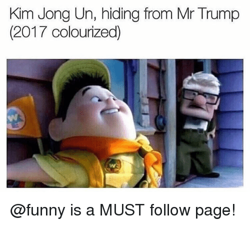 Mr Trump: Kim Jong Un, hiding from Mr Trump  (2017 colourized) @funny is a MUST follow page!