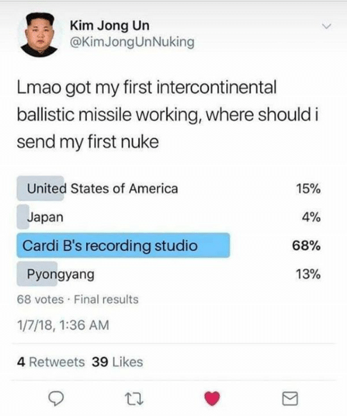 Jong: Kim Jong Un  @KimJongUnNuking  Lmao got my first intercontinental  ballistic missile working, where should i  send my first nuke  United States of America  15%  4%  Japan  Cardi B's recording studio  68%  13%  Pyongyang  68 votes Final results  1/7/18, 1:36 AM  4 Retweets 39 Likes