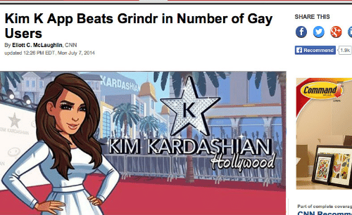 Commandeer: Kim K App Beats Grindr in Number of Gay SHARE THS  Users  By Eliott C. McLaughlin, CNN  updated 12:26 PM EDT, Mon July 7, 2014  Recommend  1.9k  ARDASH  Command  IM KARDASHIAN  Part of complete coverag