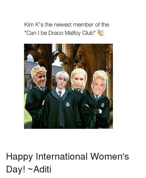 """Club, International Women's Day, and Happy: Kim K's the newest member of the  Can I be Draco Malfoy Club"""" Happy International Women's Day! ~Aditi"""
