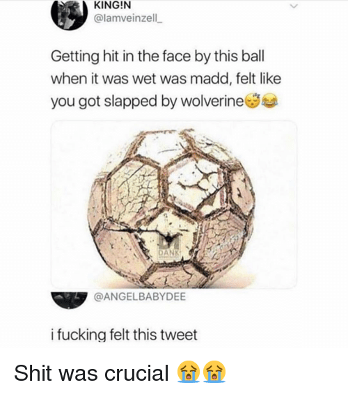 Dank, Fucking, and Memes: KING!N  @lamveinzell  Getting hit in the face by this ball  when it was wet was madd, felt like  you got slapped by wolverineSe  N DANK  @ANGELBABYDEE  i fucking felt this tweet Shit was crucial 😭😭