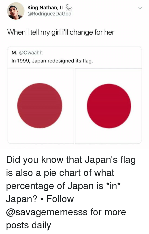 Memes, Girl, and Japan: King Nathan, 11  @RodriguezDaGod  When l tell my girl i'll change for her  M. @Owaahh  In 1999, Japan redesigned its flag. Did you know that Japan's flag is also a pie chart of what percentage of Japan is *in* Japan? • Follow @savagememesss for more posts daily