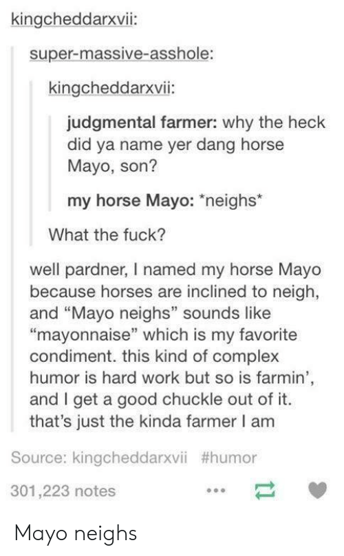 """Complex, Horses, and Work: kingcheddarxvii:  super-massive-asshole:  kingcheddarxvii:  judgmental farmer: why the heck  did ya name yer dang horse  Mayo, son?  my horse Mayo: *neighs*  What the fuck?  well pardner, I named my horse Mayo  because horses are inclined to neigh,  and """"Mayo neighs"""" sounds like  """"mayonnaise"""" which is my favorite  condiment. this kind of complex  humor is hard work but so is farmin  and I get a good chuckle out of it  that's just the kinda farmer I am  Source: kingcheddarxvii #humor  301,223 notes Mayo neighs"""