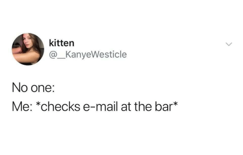 Mail, One, and Bar: kitten  @_KanyeWesticle  No one:  Me: *checks e-mail at the bar*