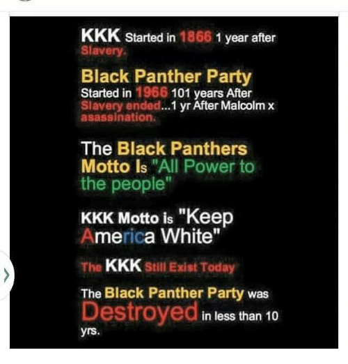 "America, Kkk, and Malcolm X: KKK started in  1866  1 year after  Slavery  Black Panther Party  Started in 1966 101 years After  Slavery ended...  yr After Malcolm x  asassination.  The Black Panthers  Motto is ""All Power to  the people""  KKK Motto is ""Keep  America White""  The  KKK Still Exist Today  The Black Panther Party was  Destroyed  in less than 10  yrs"