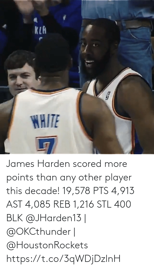 Any Other: KLA  WAITE James Harden scored more points than any other player this decade!   19,578 PTS 4,913 AST 4,085 REB 1,216 STL 400 BLK   @JHarden13 | @OKCthunder | @HoustonRockets   https://t.co/3qWDjDzlnH