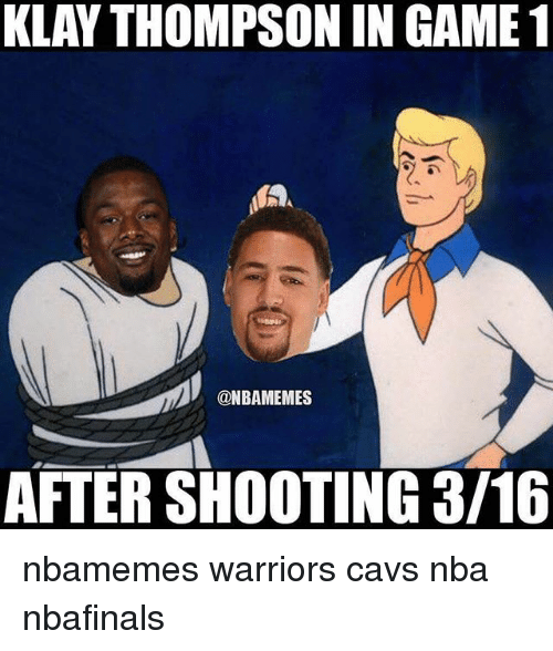 Basketball, Cavs, and Klay Thompson: KLAY THOMPSON IN GAME 1  MAA  ONBAMEMES  AFTER SHOOTING 3/16 nbamemes warriors cavs nba nbafinals