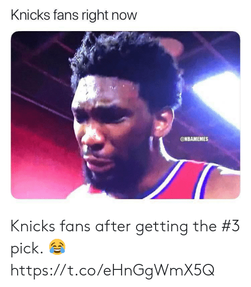New York Knicks, Now, and Right Now: Knicks fans right now  ONBAMEMES Knicks fans after getting the #3 pick. 😂 https://t.co/eHnGgWmX5Q