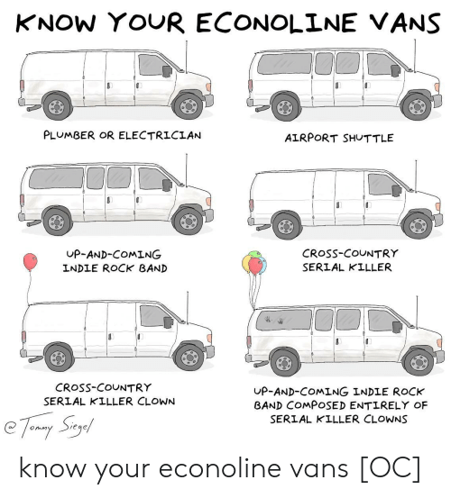Vans: KNOW YOUR ECONOLINE VANS  PLUMBER OR ELECTRICIAN  AIRPORT SHUTTLE  UP-AND-COMING  INDLE ROCK BAND  CRoSs-COUNTRY  SERIAL KILLER  CRosS-COUNTRY  SERIAL KILLER CLOWN  UP-AND-COMING INDLE ROCK  BAND COMPOSED ENTIRELY OF  SERIAL KILLER CLOWNS know your econoline vans [OC]