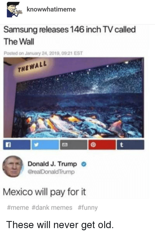 Dank, Funny, and Meme: knowwhatimeme  Samsung releases 146 inch TV called  The Wall  Posted on January 24, 2019, 0921 EST  THEWALL  Donald J. Trump  @realDonaldTrump  .  Mexico ll pay for it  #meme#dank memes  These will never get old.