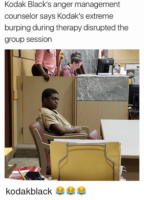 Anger Management: Kodak Black's anger management  counselor says Kodak's extreme  burping during therapy disrupted the  group session kodakblack 😂😂😂