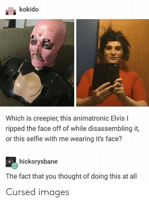 Selfie, Tumblr, and Images: kokido  Which is creepier, this animatronic Elvis I  ripped the face off of while disassembling it  or this selfie with me wearing it's face?  hickorysbane  The fact that you thought of doing this at all Cursed images