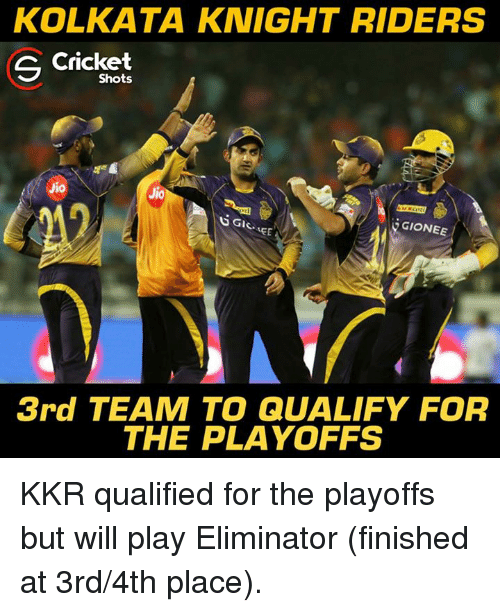 Memes, Cricket, and 🤖: KOLKATA KNIGHT RIDERS  S Cricket  Shots  Jio  Jio  EGIONEE A  EE  3rd TEAM TO QUALIFY FOR  THE PLAYOFFS KKR qualified for the playoffs but will play Eliminator (finished at 3rd/4th place).