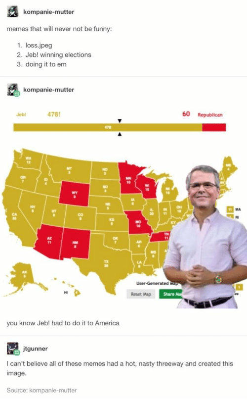 America, Funny, and Memes: kompanie-mutter  memes that will never not be funny:  1. loss.jpeg  2. Jeb! winning elections  3. doing it to em  kompanie-mutter  478  60 Republican  Jeb  478  WA  MT  NO  OR  MN  10  A  11 MA  20  RI  MO  KY  TN  11  AR  User-Generated Map  Share Ma  Reset Map  you know Jeb! had to do it to America  jtgunner  I can't believe all of these memes had a hot, nasty threeway and created this  image  Source: kompanie-mutter