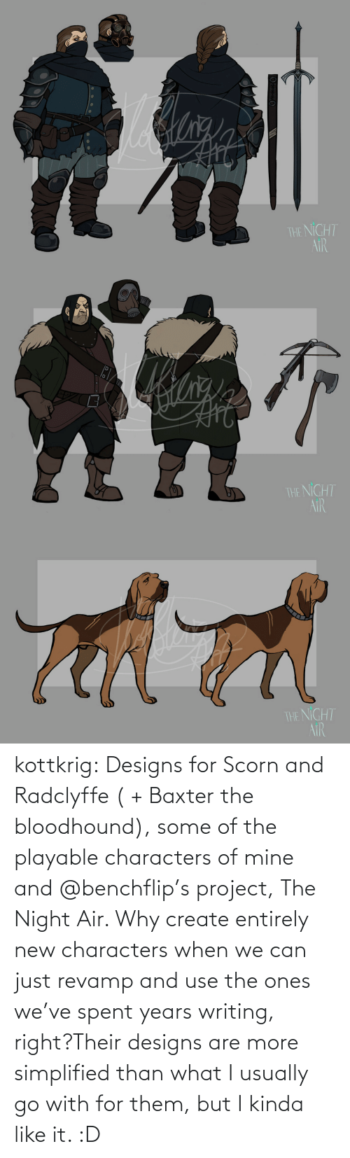 air: kottkrig:  Designs for Scorn and Radclyffe ( + Baxter the bloodhound), some of the playable characters of mine and @benchflip's project, The Night Air. Why create entirely new characters when we can just revamp and use the ones we've spent years writing, right?Their designs are more simplified than what I usually go with for them, but I kinda like it. :D
