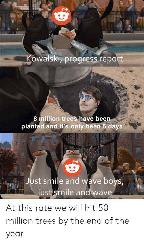 Smile, Trees, and Been: Kowalski, progress report  8 million trees have been  planted and it's only been 5 days  Just smile and wave boys,  just smile and wave At this rate we will hit 50 million trees by the end of the year