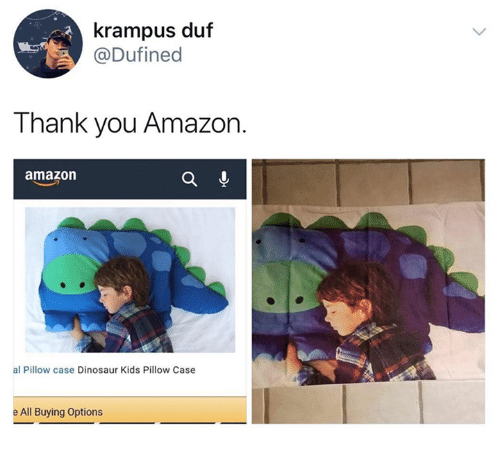 Amazon, Dinosaur, and Thank You: krampus duf  @Dufined  Thank you Amazon.  amazon  al Pillow case Dinosaur Kids Pillow Case  e All Buying Options