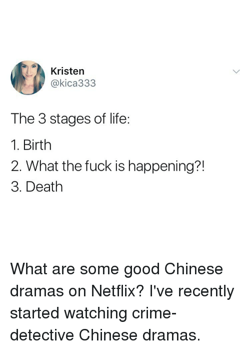 Crime, Life, and Netflix: Kristen  @kica333  The 3 stages of life:  1. Birth  2. What the fuck is happening?!  3. Death What are some good Chinese dramas on Netflix? I've recently started watching crime-detective Chinese dramas.
