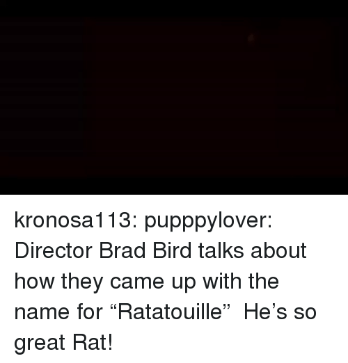 "Tumblr, Blog, and How: kronosa113:  pupppylover: Director Brad Bird talks about how they came up with the name for ""Ratatouille""  He's so great   Rat!"