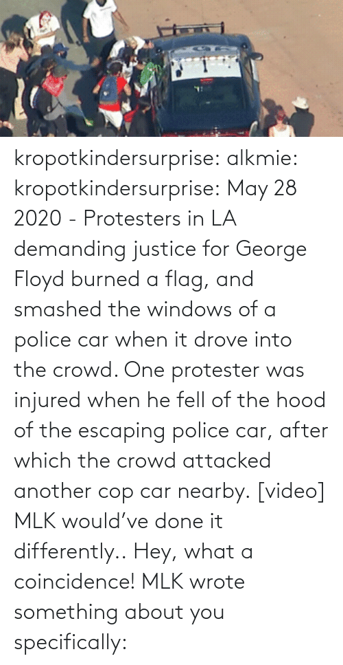 hey: kropotkindersurprise:  alkmie: kropotkindersurprise: May 28 2020 - Protesters in LA demanding justice for George Floyd burned a flag, and smashed the windows of a police car when it drove into the crowd. One protester was injured when he fell of the hood of the escaping police car, after which the crowd attacked another cop car nearby. [video]   MLK would've done it differently..  Hey, what a coincidence! MLK wrote something about you specifically: