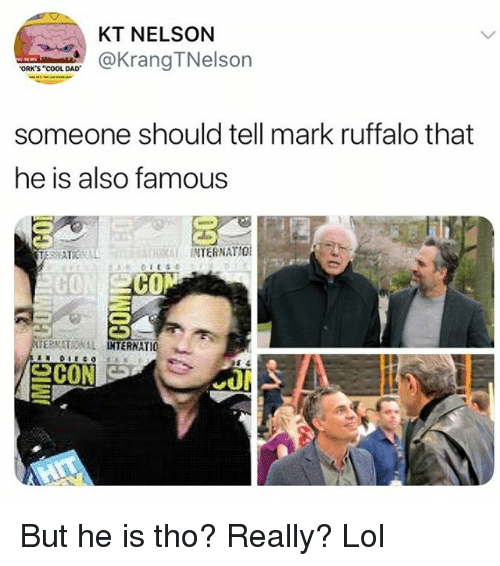 "Dad, Funny, and Lol: KT NELSON  aKrangTNelson  ORK'S ""COOL DAD  someone should tell mark ruffalo that  he is also famous  RAL INTERNATIO  C0  CO  ERNATIO 뇨 But he is tho? Really? Lol"