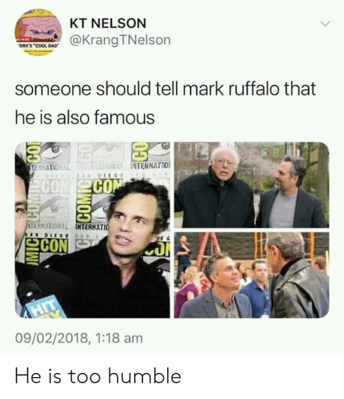 nelson: KT NELSON  @Krang TNelson  ORK'S COOL DAD  someone should tell mark ruffalo that  he is also famous  NTERNATIO  CO  SE?NITON LL  INT  TERNATIO  으CON  09/02/2018, 1:18 am He is too humble