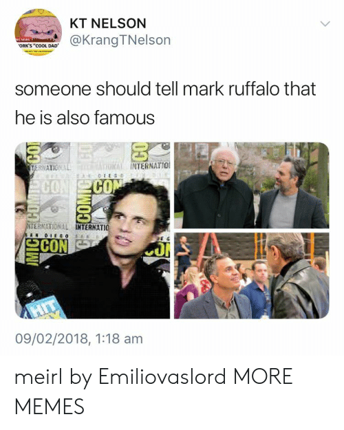 """Dad, Dank, and Memes: KT NELSON  @KrangTNelson  ORK'S """"cOOL DAD  someone should tell mark ruffalo that  he is also famous  INTERNATIO  CO  CO  ERNATIONAL  TERNATIO  09/02/2018, 1:18 am meirl by Emiliovaslord MORE MEMES"""
