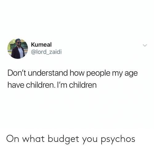 Children, Budget, and Dank Memes: Kumeal  @lord_zaidi  Don't understand how people my age  have children. I'm children On what budget you psychos