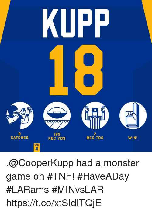 Memes, Monster, and Game: KUPP  9  CATCHES  162  REC YDS  2  REC TDS  WIN!  WK  4 .@CooperKupp had a monster game on #TNF! #HaveADay #LARams  #MINvsLAR https://t.co/xtSIdITQjE