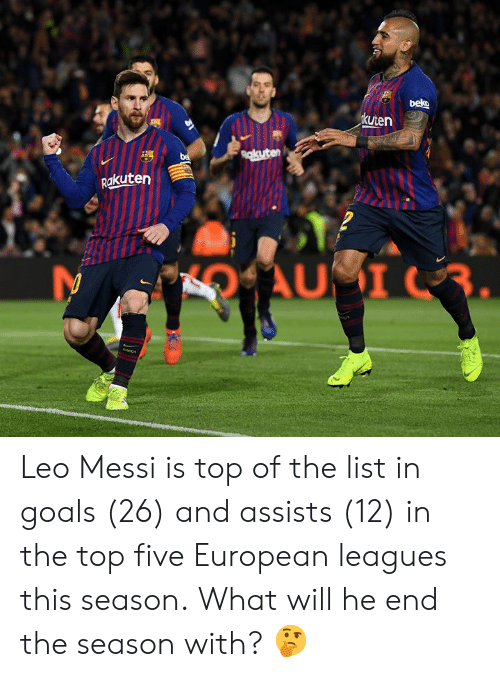 leo messi: kuten  akuten Leo Messi is top of the list in goals (26) and assists (12) in the top five European leagues this season.  What will he end the season with? 🤔