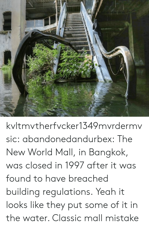 Tumblr, Yeah, and Blog: kvltmvtherfvcker1349mvrdermvsic: abandonedandurbex:  The New World Mall, in Bangkok, was closed in 1997 after it was found to have breached building regulations.  Yeah it looks like they put some of it in the water. Classic mall mistake