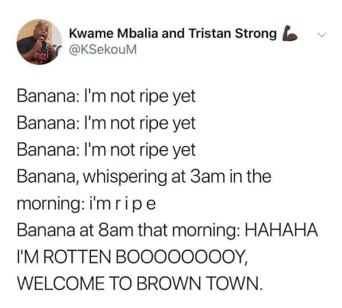 Banana, Strong, and Town: Kwame Mbalia and Tristan Strong  @KSekouM  Banana: I'm not ripe yet  Banana: I'm not ripe yet  Banana: l'm not ripe yet  Banana, whispering at 3am in the  morning: imripe  Banana at 8am that morning: HAHAHA  I'M ROTTEN BOOOOOOOOY,  WELCOME TO BROWN TOWN.