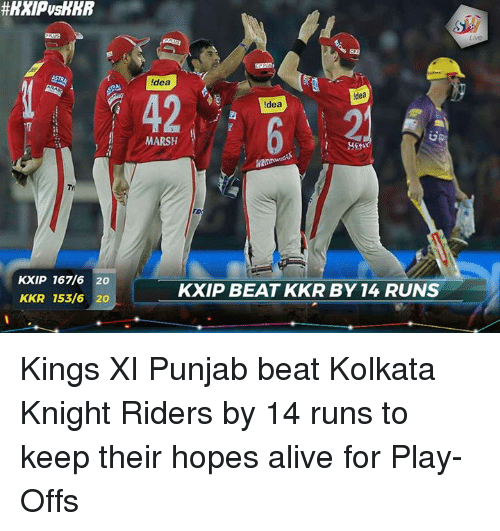 Alive, Memes, and 🤖: KXIP 167/6 20  KKR 153/6 20  dea  idea  ldea  MARSH  ro  KXIP BEAT KKR BY 14 RUNS Kings XI Punjab beat Kolkata Knight Riders by 14 runs to keep their hopes alive for Play-Offs