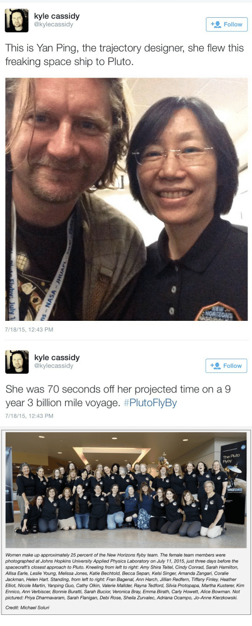 Laboratory: kyle cassidy  @kylecassidy  + Follow  This is Yan Ping, the trajectory designer, she flew this  freaking space ship to Pluto.  7/18/15, 12:43 PM   kyle cassidy  @kylecassidy  Follow  She was 70 seconds off her projected time on a 9  year 3 billion mile voyage, #PlutoFlyBy  7/18/15, 12:43 PM   The Pluto  Fyby  RIZONS  Women make up approximately 25 percent of the New Horizons flyby team. The female team members were  photographed at Johns Hopkins University Applied Physics Laboratory on July 11, 2015, just three days before the  spacecraft's closest approach to Pluto. Kneeling from left to right: Amy Shira Teitel, Cindy Conrad, Sarah Hamilton,  Allisa Earle, Leslie Young, Melissa Jones, Katie Bechtold, Becca Sepan, Kelsi Singer, Amanda Zangari, Coralie  Jackman, Helen Hart. Standing, from left to right: Fran Bagenal, Ann Harch, Jillian Redfern, Tiffany Finley, Heather  Elliot, Nicole Martin, Yanping Guo, Cathy Olkin, Valerie Mallder, Rayna Tedford, Silvia Protopapa, Martha Kusterer, Kim  Ennico, Ann Verbiscer, Bonnie Buratti, Sarah Bucior, Veronica Bray, Emma Birath, Carly Howett, Alice Bowman. Not  pictured: Priya Dharmavaram, Sarah Flanigan, Debi Rose, Sheila Zurvalec, Adriana Ocampo, Jo-Anne Kierzkowski.  Credit: Michael Soluri