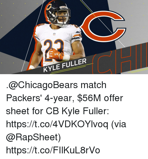 Memes, Match, and Packers: KYLE FULLER .@ChicagoBears match Packers' 4-year, $56M offer sheet for CB Kyle Fuller: https://t.co/4VDKOYlvoq (via @RapSheet) https://t.co/FIlKuL8rVo