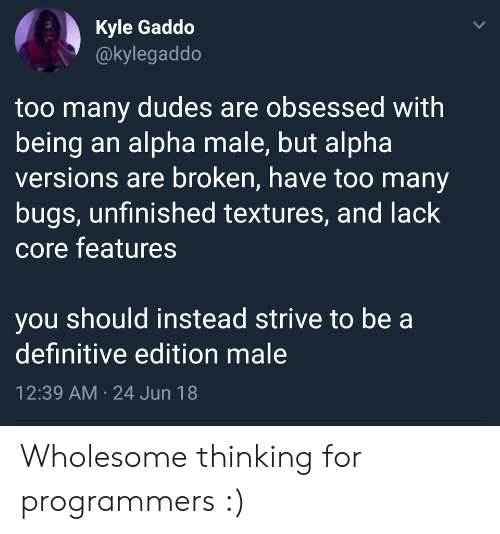 bugs: Kyle Gaddo  @kylegaddo  too many dudes are obsessed with  being an alpha male, but alpha  versions are broken, have too many  bugs, unfinished textures, and lack  core features  you should instead strive to be a  definitive edition male  12:39 AM 24 Jun 18  > Wholesome thinking for programmers :)